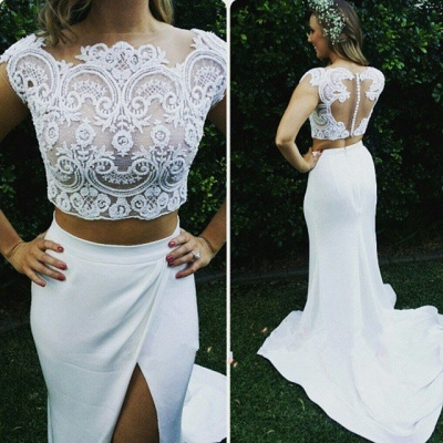 Two Piece Lace Wedding Dress 2020 Front Split Buttons Summer Outdoor Wedding Gowns_3