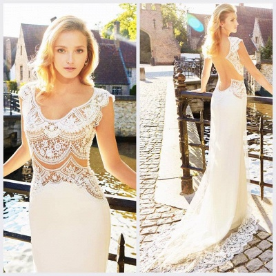 New Arrival Sexy Lace Bridal Gowns Open Back Sleeveless 2020 Summer Wedding Dresses_4