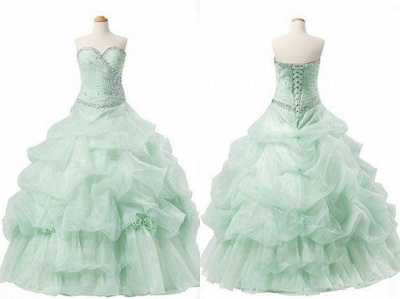 Elegant Sweetheart Crystal Ball Gown Quinceanera Dress Floor Length Tiered Custom Made Dresses with Beadings_4