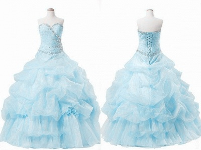 Elegant Sweetheart Crystal Ball Gown Quinceanera Dress Floor Length Tiered Custom Made Dresses with Beadings_2