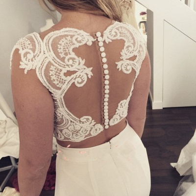 Two Piece Lace Wedding Dress 2020 Front Split Buttons Summer Outdoor Wedding Gowns_5