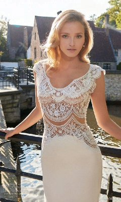 New Arrival Sexy Lace Bridal Gowns Open Back Sleeveless 2020 Summer Wedding Dresses_1