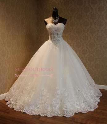 Gorgeous Sweetheart Lace 2020 Wedding Dress Lace-Up Beading Princess Dress_1