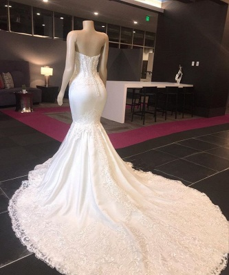 Strapless Lace Appliques Cheap Wedding Dresses | Sexy Mermaid Bridal Gowns 2020_2