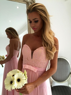 Sweetheart Pink Lace Chiffon Bridesmaid Dresses | Open Back Cheap Blowknot Maid Of Honor Dress 2020_3