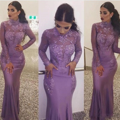 Sexy High Neck Long Sleeves Evening Dresses | 2020 Mermaid Appliques Cheap Prom Dresses_3