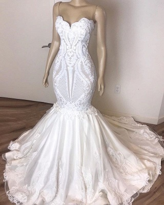 Elegant Lace Appliques Wedding Dresses | Strapless Mermaid Cheap Bridal Gowns_3