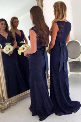 V-neck Navy Blue Lace Bridesmaid Dresses with Bowknot Sash | Sleeveless Cheap Maid Of Honor Dresses_3