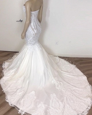 Elegant Lace Appliques Wedding Dresses | Strapless Mermaid Cheap Bridal Gowns_2