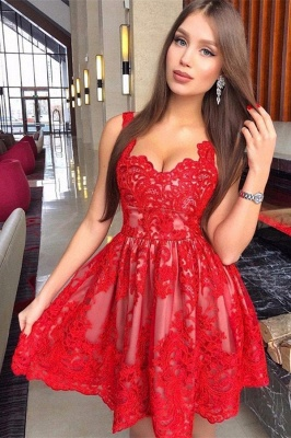 2020 Red Lace Straps Cheap Homecoming Dresses | Sexy Sleeveless Short Hoco Dresses Online BC0014_1