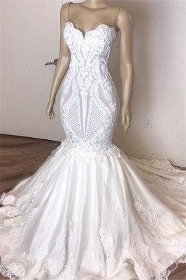Elegant Lace Appliques Wedding Dresses | Strapless Mermaid Cheap Bridal Gowns_1