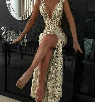 Sexy Lace Evening Gowns 2020 Sleeveless Beading Split Popular Prom Dresses CE0061_3