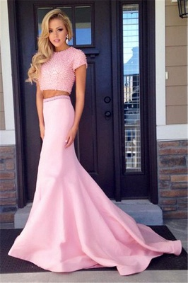 Pink Short Sleeve Two Piece Prom Dress 2020 Mermaid Long Train Evening Dress with Beads CJ0439_1