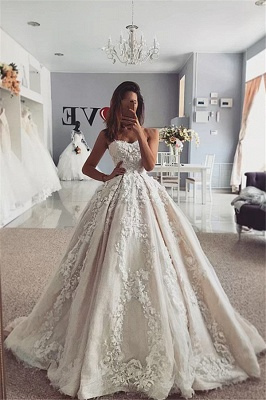Strapless Flowers Appliques Ball Gown Wedding Dresses | Sexy Sleeveless Bridal Gowns Online with Sweep Train