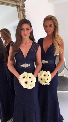 V-neck Navy Blue Lace Bridesmaid Dresses with Bowknot Sash | Sleeveless Cheap Maid Of Honor Dresses_4