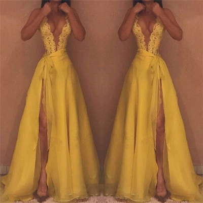 Deep V-neck Sexy Yellow Evening Dresses 2020 | Side Slit Lace Sleeveless Cheap Prom Dresses_3