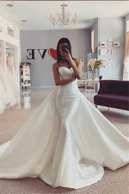 Mermaid Strapless Cheap Wedding Dresses | Sleeveless White Bridal Gowns Online 2020
