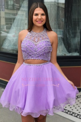 Sexy Short Beadings Purple A-line Homecoming Dresses_2