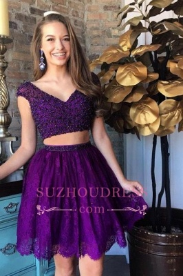 Two-Piece Lace Beading Cap-Sleeve Short Delicate Homecoming Dress_5