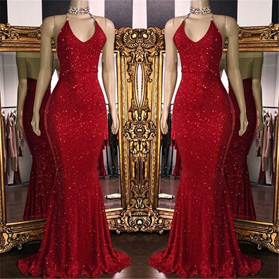 Sparkle Sequins Sexy Red Prom Dresses Cheap 2020 | Halter V-neck Backless Formal Evening Gowns BC1085_2