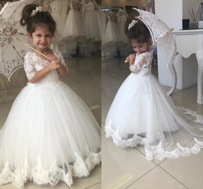 Cute Half Sleeves Lace Flower Girl Dresses 2020 | Tulle Ball Gown Wedding Party Dresses_3