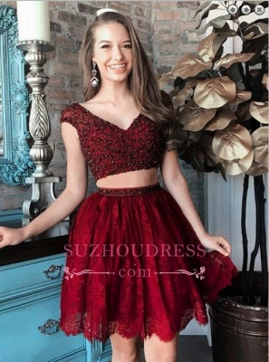 Two-Piece Lace Beading Cap-Sleeve Short Delicate Homecoming Dress_4
