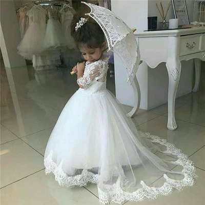 Cute Half Sleeves Lace Flower Girl Dresses 2020 | Tulle Ball Gown Wedding Party Dresses_4