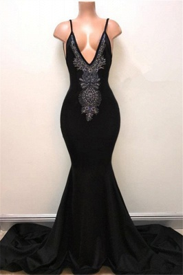 V-neck Straps Sexy Black Prom Dress   Mermaid Beads Sexy Evening Gown_1