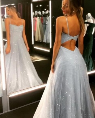 Open Back Spaghetti Strap Sequin Prom Dresses Cheap | 2020 Ice Blue Sexy Evening Gowns_4