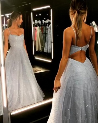 Open Back Spaghetti Strap Sequin Prom Dresses Cheap | 2020 Ice Blue Sexy Evening Gowns_3