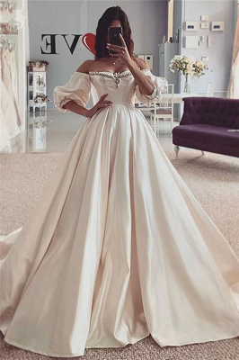 Off The Shoulder Beads Ball Gown Wedding Dresses | Short Sleeve Cheap Bridal Gowns