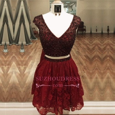 Two-Piece Lace Beading Cap-Sleeve Short Delicate Homecoming Dress_3