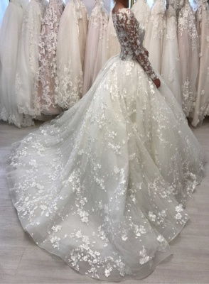 Lace Long Sleeve Ball Gown Wedding Dresses | Sheer Tulle Appliques Bridal Gowns Online_2