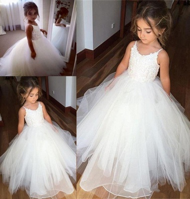 Lovely Sleeveless Spaghetti Straps Lace Flower Girl Dresses | White Tulle Ball Gown Pageant Dresses 2020_4
