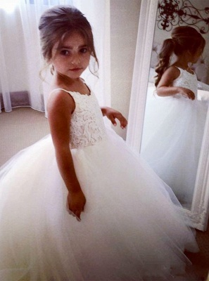 Lovely Sleeveless Spaghetti Straps Lace Flower Girl Dresses | White Tulle Ball Gown Pageant Dresses 2020_3