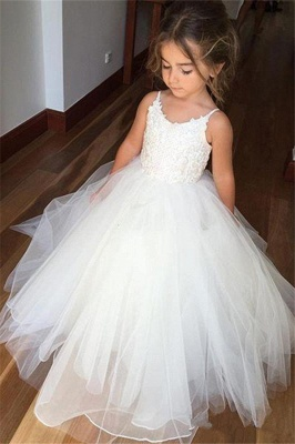Lovely Sleeveless Spaghetti Straps Lace Flower Girl Dresses | White Tulle Ball Gown Pageant Dresses 2020_1