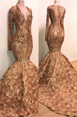 V-neck Long Sleeve Gold Sparkle Appliques Prom Dress | Mermaid Flowers Real Prom Dress on Mannequins BC1373_1