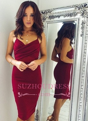 Sheath Spaghettis-Straps Knee-Length Burgundy Sexy Homecoming Dresses_3