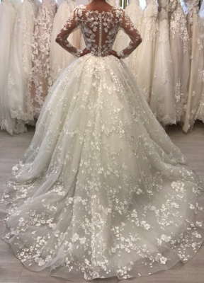 Lace Long Sleeve Ball Gown Wedding Dresses | Sheer Tulle Appliques Bridal Gowns Online_3