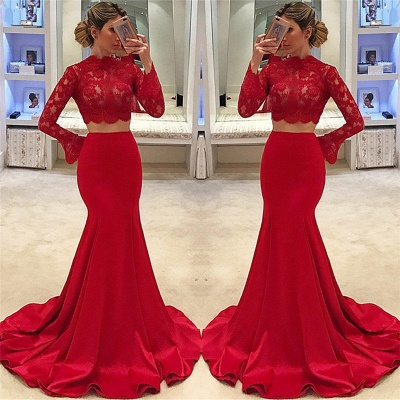 High Neck Long Sleeve Two Piece Prom Dresses 2020 Mermaid Lace Cheap Formal Evening Gown_3