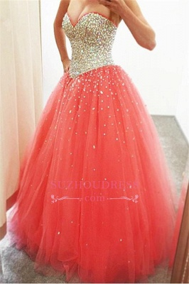 2020 Cheap Sparkly Puffy Sweetheart Tulle Quinceanera Crystals Dresses_1