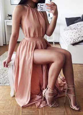 Sexy Halter Chiffon Summer Dresses Natural Split 2020 A-Line Prom Gowns_1