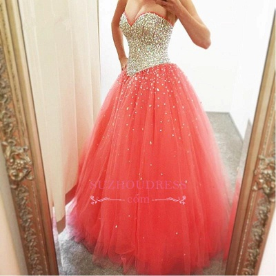2020 Cheap Sparkly Puffy Sweetheart Tulle Quinceanera Crystals Dresses_3