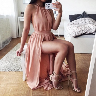 Sexy Halter Chiffon Summer Dresses Natural Split 2020 A-Line Prom Gowns_3