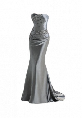 Silver Mermaid 2020 Sexy Long Evening Dresses with Sparkly Sequins Long Train Cheap Bridesmaid Dresses LFC036_2