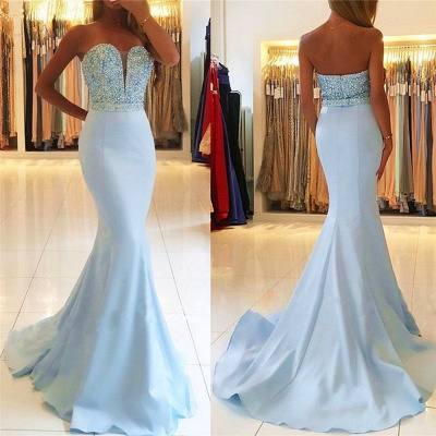 Baby Blue Mermaid Open Back Prom Dresses Sexy 2020 Beads Sequins Formal Evening Dresses BA7755_4