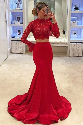 High Neck Long Sleeve Two Piece Prom Dresses 2020 Mermaid Lace Cheap Formal Evening Gown_1