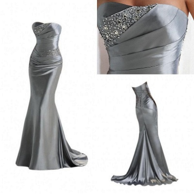 Silver Mermaid 2020 Sexy Long Evening Dresses with Sparkly Sequins Long Train Cheap Bridesmaid Dresses LFC036_3