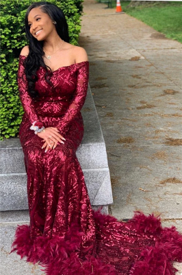 Off The Shoulder Burgundy Prom Dresses with Feather | Long Sleeve Sparkle Lace Mermaid Evening Gowns_2