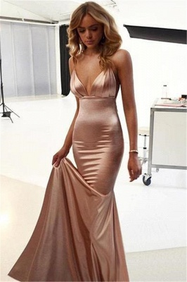 2020 Sexy Open Back Mermaid Evening Dresses | Cheap Sleeveless Ruffles Spaghetti-Straps Formal Dresses_2